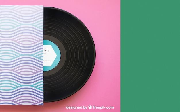 Vinyl mockup met ruimte aan de rechterkant