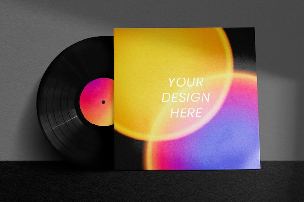 Vinylplaat psd-mockup met esthetisch led-licht