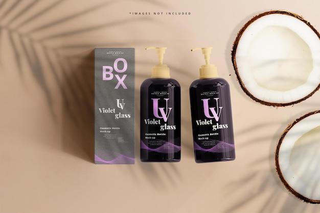 Violet glazen pompfles en doosmodel