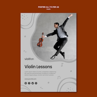 Viool muzieklessen poster sjabloon