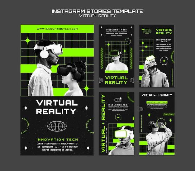 Virtual reality instagram verhalen sjabloon stories