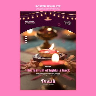 Virtuele diwali evenement poster sjabloon