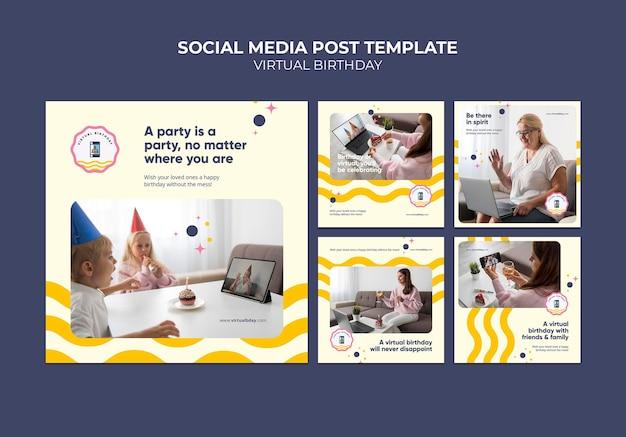 Virtuele verjaardag social media posts Gratis Psd