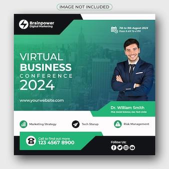 Virtuele zakelijke conferentie sociale media-banner