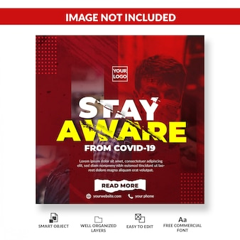 Virus advertencia redes sociales banner cuadrado. concepto de coronavirus