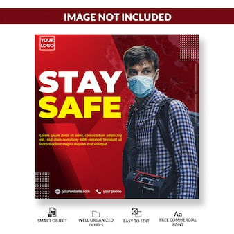 Viruswaarschuwing sociale media vierkante flyer coronavirus