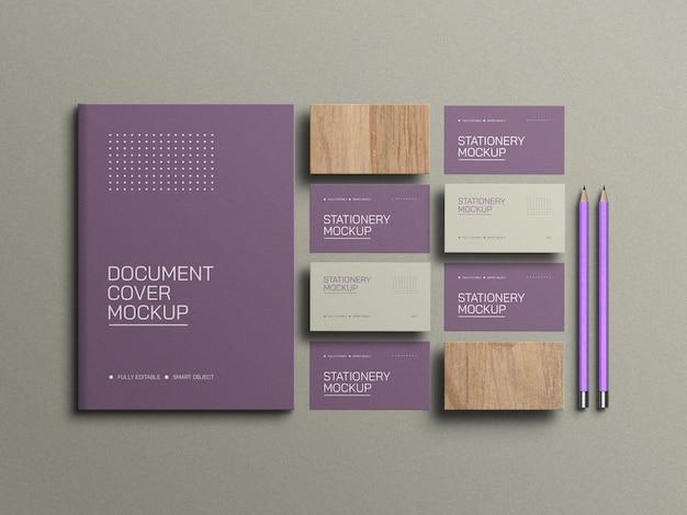 Visitekaartje met a4 document stationery mockup
