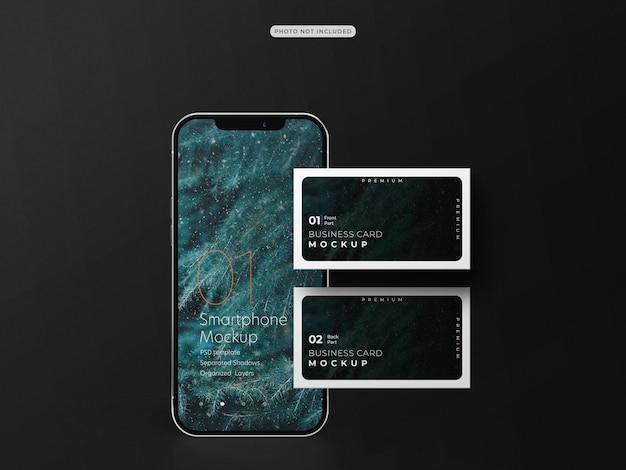 Visitekaartje met mockup voor mobiele telefoon