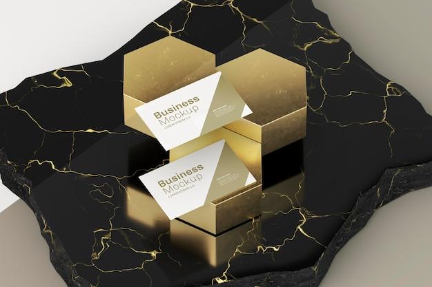 Visitekaartje mock-up abstract gouden ontwerp