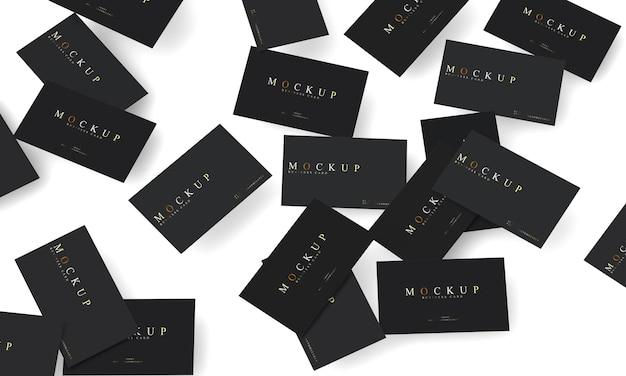 Visitekaartje mockup met verspreide ontwerpen Premium Psd