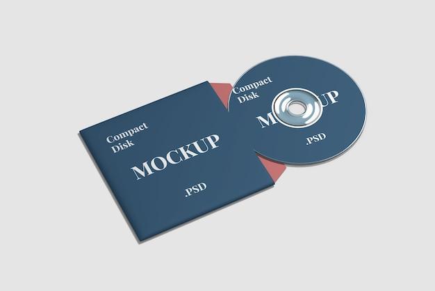 Vista de ángulo alto de maqueta de disco compacto