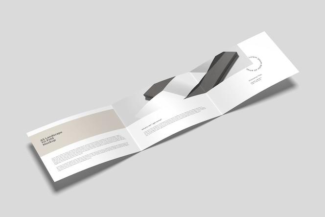Vista de ángulo alto de maqueta de folleto tríptico a5 horizontal