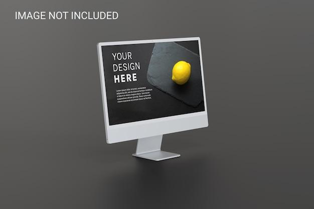 Vista de ángulo izquierdo de la maqueta de la pantalla del monitor