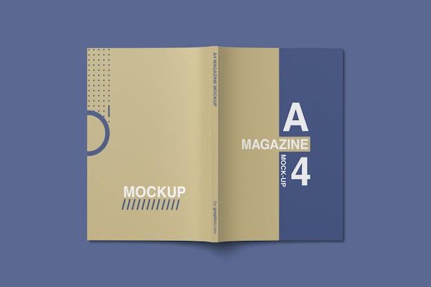 Vista de ángulo superior de la maqueta de la revista a4 cover