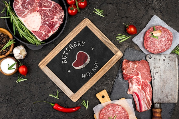Vista anterior carnicería con carne de hamburguesas