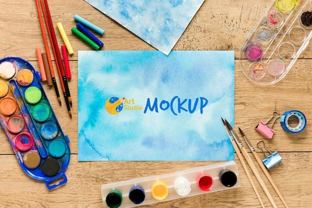 Vista dall'alto aquarelle e vernice con mock-up