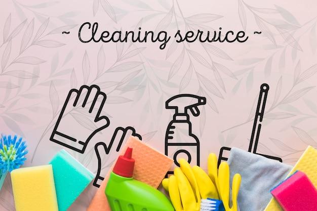 Vista dall'alto attrezzature per servizi di pulizia