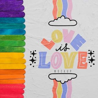 Vista dall'alto dei colori dell'arcobaleno per orgoglio con amore