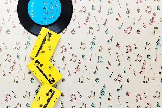 Vista dall'alto del concetto di musica con spazio di copia