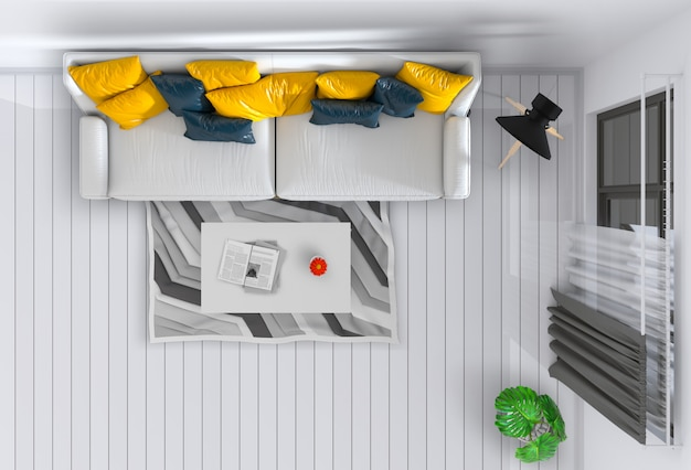 Vista dall'alto del soggiorno interno. rendering 3d