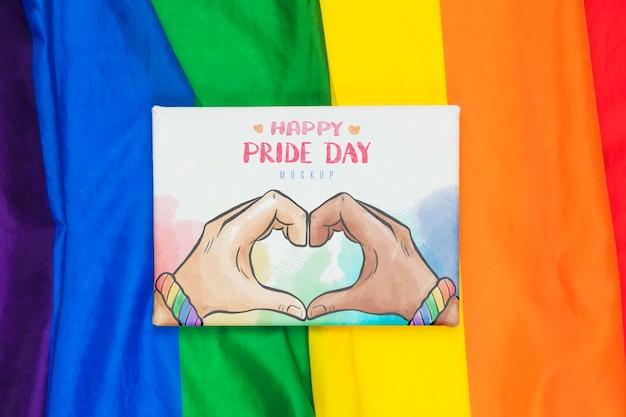 Vista dall'alto di colori arcobaleno e saluto di orgoglio