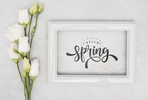Vista dall'alto di rose bianche di primavera con cornice