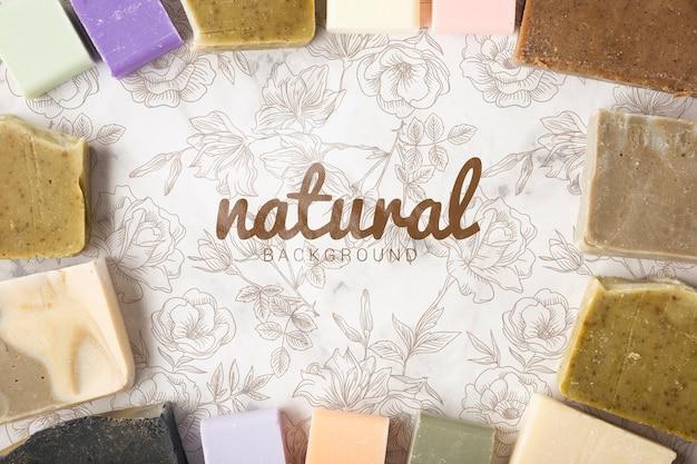 Vista dall'alto di sfondo di sapone naturale