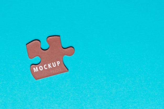 Vista dall'alto pezzo di puzzle mock-up