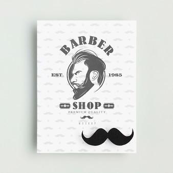 Vista dall'alto poster del negozio di barbiere con mock-up