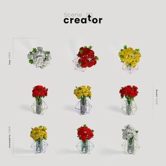 Vista del vaso di fiori del creatore di scena della molla