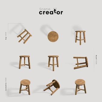Vista della sedia di legno del creatore di scena di primavera