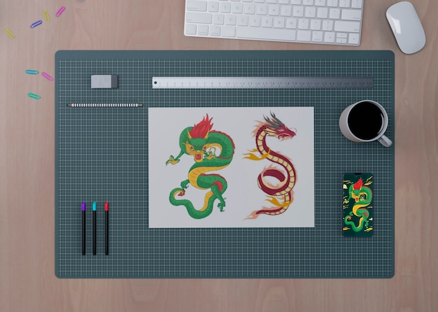 Vista di concetto desktop con strumenti