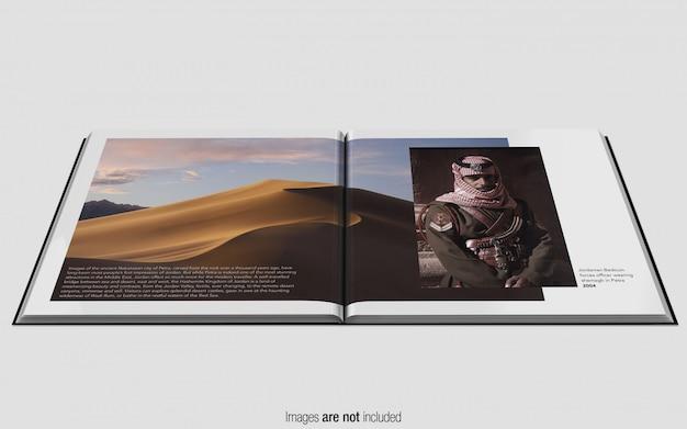 Vista di prospettiva quadrata di psd mockup della rivista quadrata