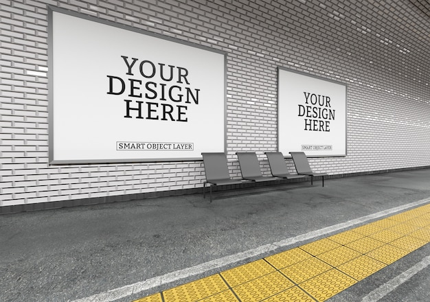 Vista di un mockup cartellone della metropolitana