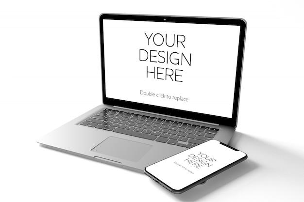Vista di un mockup di smartphone, tablet, computer desktop e laptop