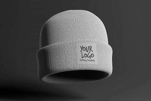Vista di un mockup di un berretto con etichetta