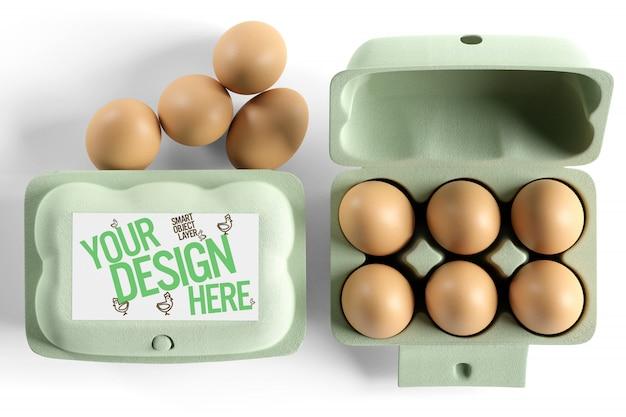 Vista di un modello d'imballaggio del cartone dell'uovo