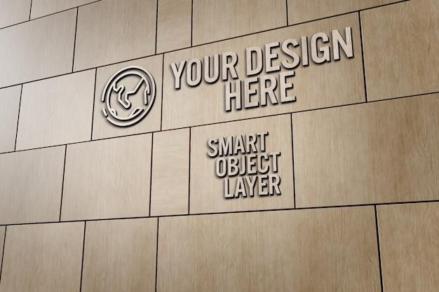 Vista di un segno 3d sul modello di parete in legno
