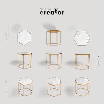 Vista esagonale della tabella del creatore della scena primaverile
