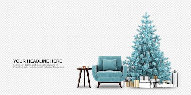 Vista frontal del árbol de navidad y el sillón en representación 3d