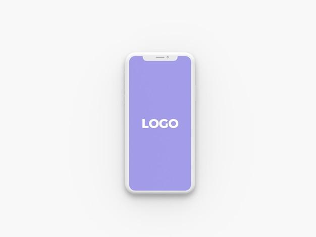 Vista frontal arcilla iphone x maqueta