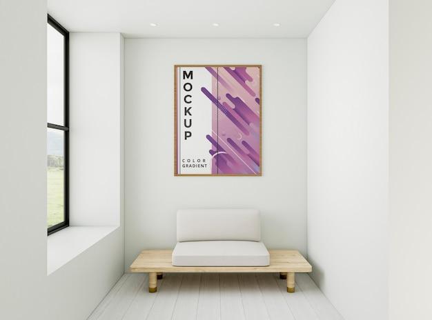 Vista frontal arreglo minimalista para el hogar con maqueta de marco