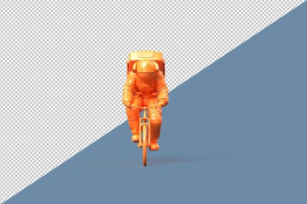 Vista frontal del astronauta en un trazado de recorte de bicicleta. concepto minimalista
