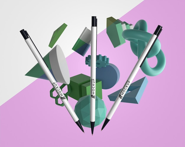 Vista frontal de bolígrafos de maquetas para merchandising