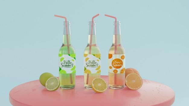 Vista frontal botellas de refrescos en la mesa