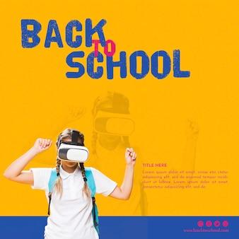 Vista frontal chica adolescente con gafas de realidad virtual