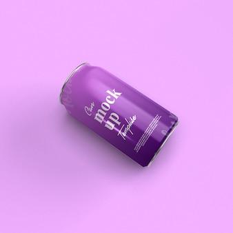 Vista frontal de cierre abstracto de la maqueta de lata de refresco