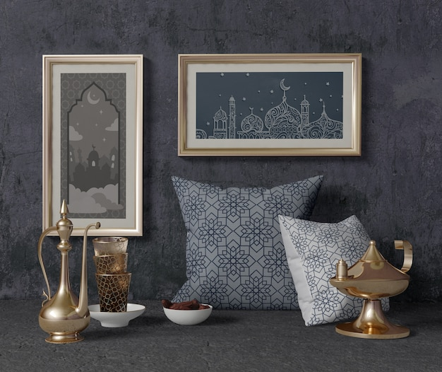 Vista frontal composición tradicional de ramadán con maqueta de marcos