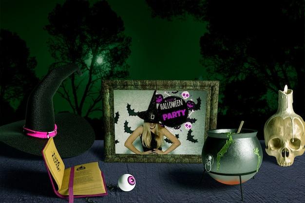 Vista frontal del creador de la escena de halloween
