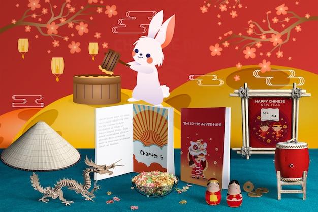 Vista frontal decoración y libros del año nuevo chino